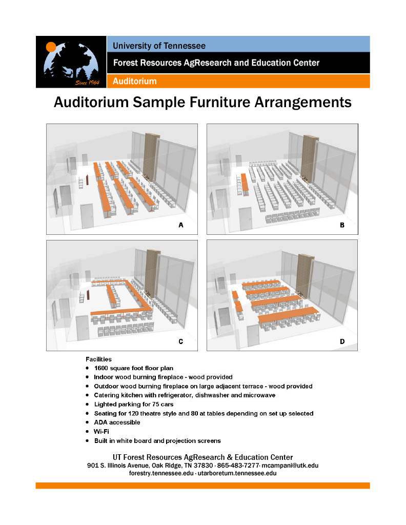 UT Arboretum Auditorium Sample Furniture Arrangements