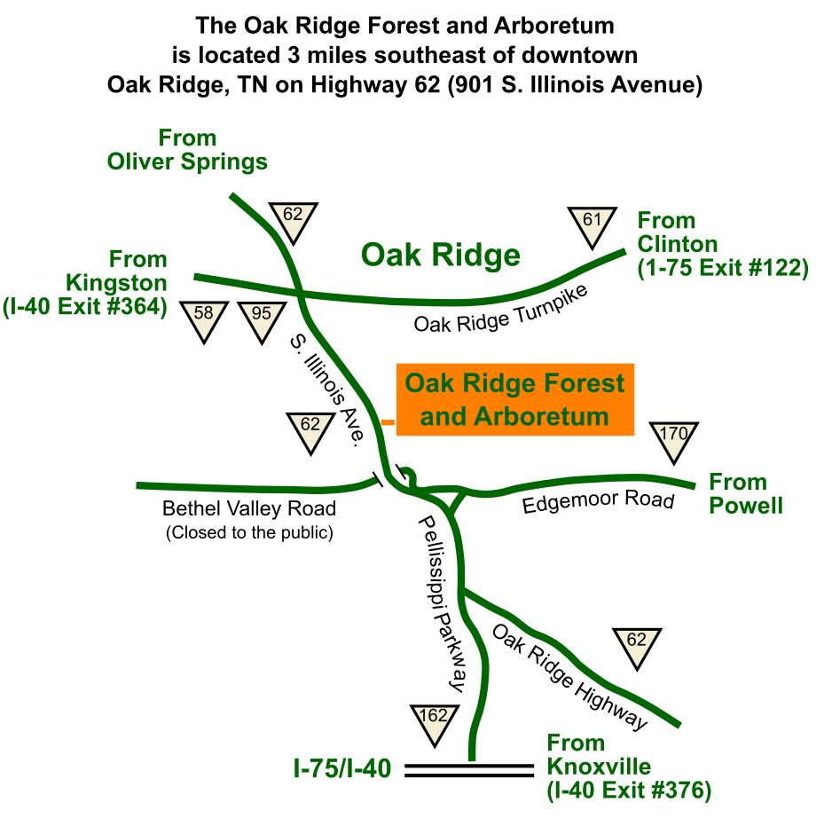 UT Arboretum Location Map