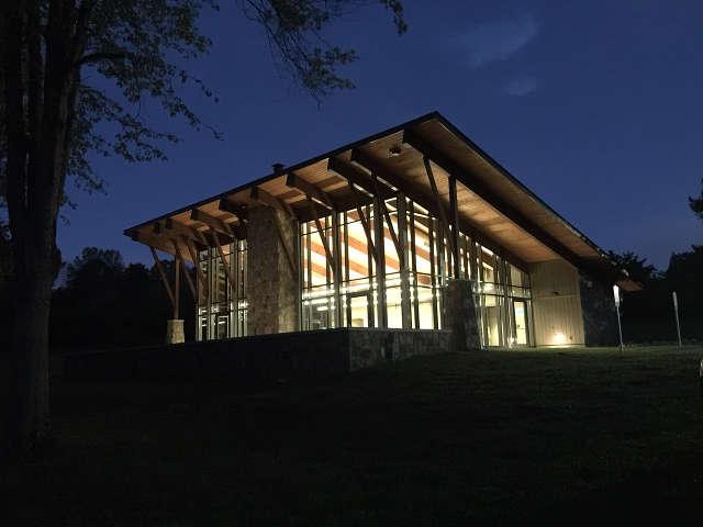 UT Arboretum Auditorium at night