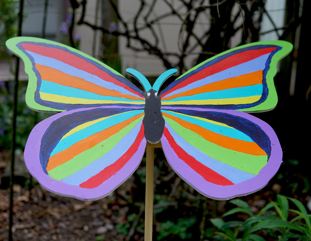 Decorated wooden butterfly